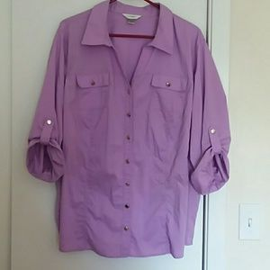 CJ BANKS Lavender Button Up Shirt